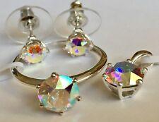 J Francis Crystal Swarovski  AB Crystal Solitaire Ring, studs pendant (T