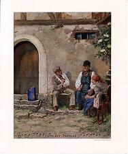 "Erzgebirge ""In der Heimat"" 1916 kl. orig. Kalender-Farbdruck Weltkrieg Soldat"