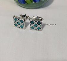 Silvered  brass  blue white culf sides square cufflinks 17mm