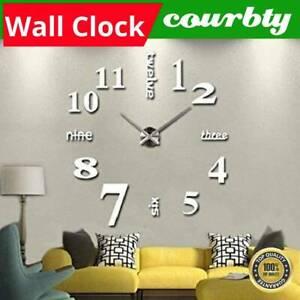 Modern Wall Clock Sticker Silver DIY Large Number Office Home Decor Art Decal