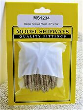 "Model Shipways Fittings MS 1234 Beige Twisted Nylon Rigging. .070"" X 16'. 5 YDS"