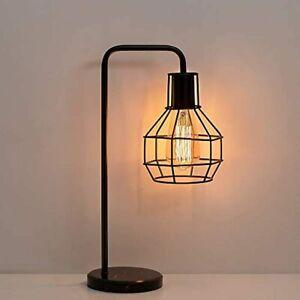 Vintage Table Nightstand Lamp Bedside Desk for Bedroom Office College Dorm Black