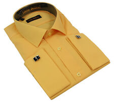 Mens Double Cuff Links Formal Dress Shirt Cotton Rich Regular Fit All Colours