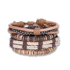Leather Bracelet Adjustable Size Handmade Beige  Brown Lace Up Clasp L530