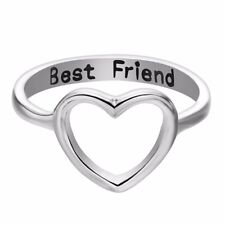 Women Love Heart Best Friend Ring Promise Jewelry Friendship Rings Bands US 7 ZJ