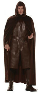 Cape Full Length Brown Faux Suede Look Hooded Character Costume Cape OS
