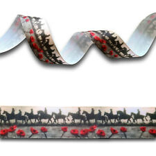 5 Yards Red Poppy Flower Horse WWI Soldier Grosgrain Ribbon 22mm Remembrance