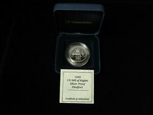 UK Silver Proof Piedfort Bill of Rights £2 1989 (with Westminster case and cert)