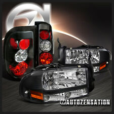 Dodge 97-04 Dakota Euro Crystal Black Headlights+Altezza Tail Brake Lamps