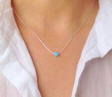 Light Blue Opal Bead Necklace  925 Sterling Silver 5 mm  Minimalist Jewelry