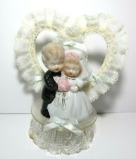 Vintage 1960's Wedding Cake Topper Bride and Groom with Heart