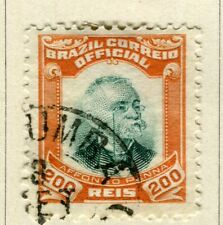BRAZIL; 1906 early Penna Official issue fine used 200r. value