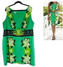 20W 2X SEXY Womens GREEN TROPICAL-FLORAL SHEATH Dress Summer Cruise PLUS SIZE