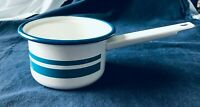 Vintage Enamelware White w/Robin's Egg Blue Thick &Narrow Stripe w/Dark Blue Rim