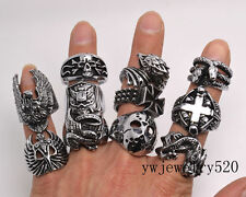 lots 10X OverSize Gothic Skull Carved Biker Mixed Styles Men's Anti-Silver Rings