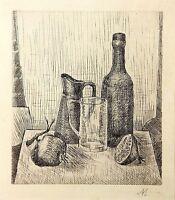 Giorgio Morandi Etching Signed Original Gallery Label Still Life