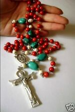 Fire Coral & Oxen Bone & Turquoise ROSARY BEADS & 5.5cm CROSS CRUCIFIX NECKLACE