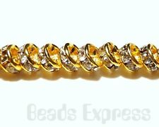 20pc 6mm Premium A+ Grade Rhinestone Gold Rondelle Spacer Metal Beads (R003)