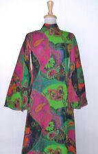 Vintage MALCOLM STARR Chiffon Print Dress M