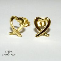18ct Gold on Solid 925 Sterling Silver Stud Earrings Heart Ladies New + Gift Bag