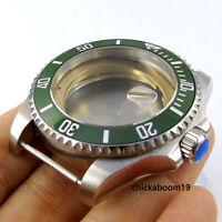 New 43mm Green Bezel Stainless Steel Watch Case Fit For ETA 8215 2836 Movement