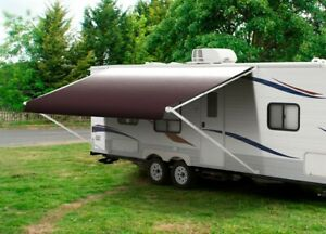 """16' Burgundy Fade w/Wht W/G, RV Awning Replacement fabric canopy (Fabric:15'2"""")"""