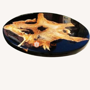 Customized Epoxy Resin Black Acacia Coffee Table Top Acacia Wooden Luxury Decors