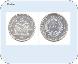 50 Francs Silver Year 1980 France ( Rara) (MB11400)
