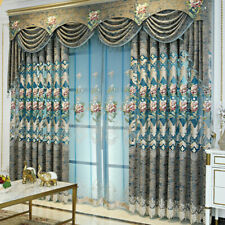 Chenille Embroidery Curtains Blackout Living Room Tulle Drape Grommet Top Modern