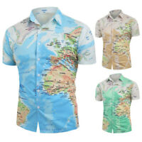 Men Casual World Map Print T-Shirt With Button Tops Blouse Long Sleeve Shirt