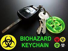 BIOHAZARD UV REACTIVE Key Chain/Keyring/Glow In The Dark/Neon/Rave/Party/YELLOW