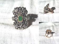 Anello Antico in Oro , Argento, Smeraldo e Diamanti