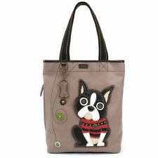 NEW CHALA GRAY TAN BOSTON TERRIER DOG EVERYDAY ZIP TOTE PURSE FAUX LEATHER