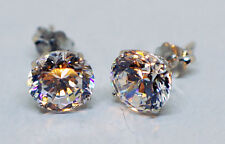 14kt Solid White Gold 7mm Cubic Zirconia CZ Stud Earrings Basket Setting