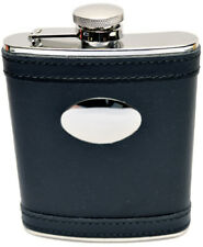 6oz Black Leather Covered Steel Hip Flask Captive Lid and Free Engraving (fl27)