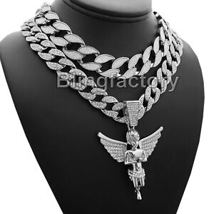 """Hip Hop Baby Angel & 20"""" Full Iced & Glittered Cuban Choker Chain Bling Necklace"""