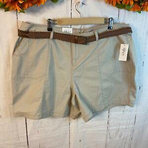 Style & Co. Women's Plus Size 22W Cargo Shorts Beige Mid Rise Braided Belt NWT