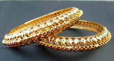Indian Kangan 18 Ct Gold Plated 2 Bangles Bracelets Ethnic Bollywood 2.6''
