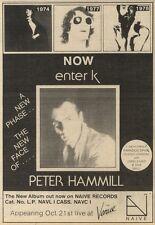 16/10/82Pgn35 Advert: Peter Hammill New Album now Enter K 7x5