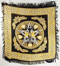 Pentagram Triple Moon Goddess Yellow & Black Altar Cloth!