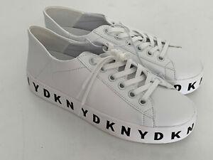 DONNA KARAN DKNY BANSON WHITE LEATHER PLATFORM WEDGE SNEAKERS SHOES 7 37 $125