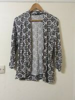 Retro Print Cardigan Top Open Style Size 12 Tall New Look
