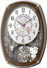 Hello Kitty Rhythm Wall Clock M540 Pink Metallic Melody 30 songs from JAPAN F/S