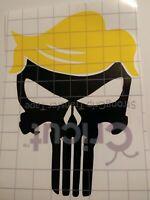 Trump Hair Punisher Skull Sticker MAGA DEPLORABLE THE PUNISHAIR fun vinyl Decal