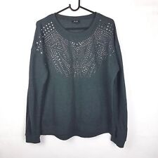 BARDOT sz 14 Womans Charcoal Grey Diamante Embellished Front Pull Over Jumper