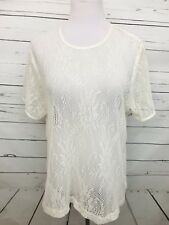 Blair Large Women��s Top Cream Lace Knit Blouse Short Sleeves