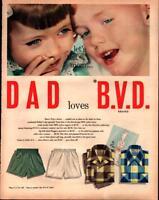 1951 B.V.D. BVD Men's Underwear Boxer Shorts Shirts Fathers Vintage Print Ad 645