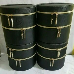 """4X LANCOME BLACK  MAKEUP COSMETIC CASE W/MIRROR DOUBLE LAYERS 7.5x7.5"""" INCH"""