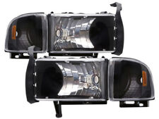 94-01 Dodge Ram 1500/94-02 2500-3500 Black Euro Headlights Headlamps New Set