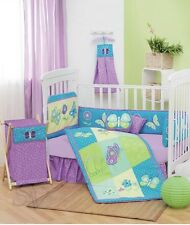 New Baby Girl FANTASY BUTTERFLY Purple Embroidery Nursery Crib Bedding Set 9 Pc
